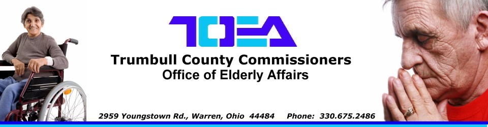 Heading announcing Trumbull County Office of Elderly Affairs with a photo of a woman in a wheelchair and a man praying.